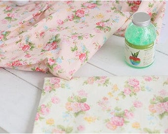 Flowers Cotton Linen - Pink or Light Yellow - By the Yard 88963