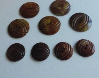 Antique Sew Thru Celluloid Wafer Buttons (9) CB2005