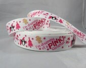 "Im dreaming of a pink christmas ribbon, Snowman Christmas ribbon, Christmas 7/8"" Ribbon by the yard, RN15370"