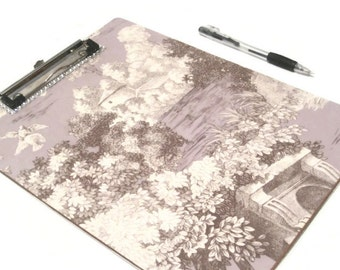 Decorated Toile Theme Clip Board, Desk Accessories, Purple Gifts, Teacher Gift, Gift For Her, Decoupaged Clipboard