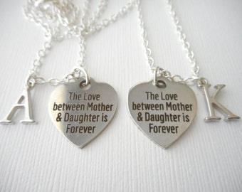 2 The Love between Mother and Daughter is Forever- Initial Best Friend Necklaces (Set)