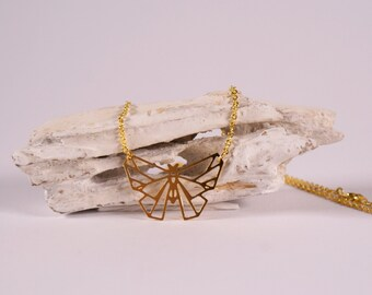 Delicate Origami Necklace Butterfly gold plated, feminine jewelry, minimalism, butterfly, elegant bangle, event jewelry