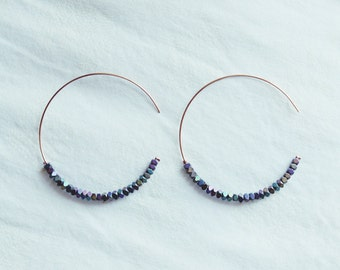 Round Hoop Hematite Stone Earrings