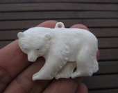 AAA BEst quality  carved Bear Pendant , Buffalo bone carving, Jewelry making Supplies B5518