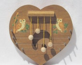 Ready to Hang - Decorative Wood Heart Door Chime with Owls Design Motif - Classic Harp Elegance Home Decor