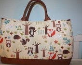 Large Woodland Nature Forest Animals Raccoon, Squirrel, Porcupine, Owl, Fox, Turtle, Frog, Bird, Snail and Rabbit) Tote Bag and Changing Pad