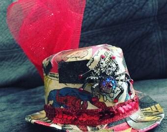 Tiny Spiderman Steampunk Top Hat Clip