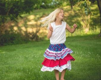 Girls Patriotic Skirt - Girls Skirt - Ruffle Skirt - Nautical Skirt - Girls Red Skirt - Blue Skirt - White Skirt - Girl Clothing -