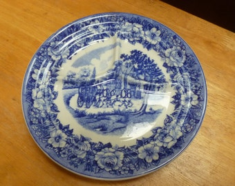Shenango China plate 3 section blue horse and carriage scene