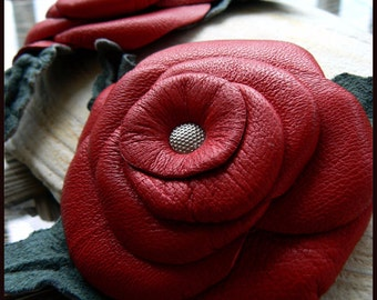Red Leather Rose Brooch, Gypsy Hippie Boho, Leather Hat Pin, Clothing Pin, Flower Red Rose Corsage, Leather Flower Pin, Clothes Pin, Brooch