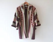 1970s Striped Embroidered Mohair Cardigan Cloak / Rose Quartz and Lavender Cape Coat