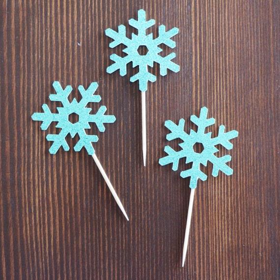 Snowflake Cupcake Toppers - Glitter - Christmas Baking Decor. Christmas Decorations. Appetizer Picks. Snowflake Decor. Birthday Party Decor.