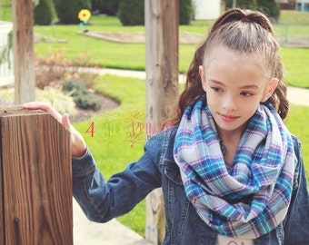 plaid scarf, purple and turquoise scarf, handmade scarf, plaid infinity scarf