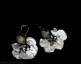 Stunning keshi pearl earrings