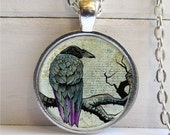 Raven Pendant, Bird Jewelry, Raven Necklace