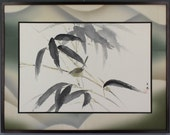 Japanese Fine Art Painting a Bush Warbler in Bamboo Framed with Vintage Silk Kimono Textile