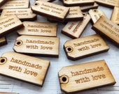 "24 MINI ""Handmade with Love"" Tags - Natural Sustainable Wood Embellishments - Great Addition to Your Gifts!"