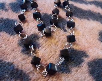 Cubes Stone  Double Tier Chain Necklace