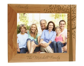 Engraved Family Roots Wooden Photo Frame