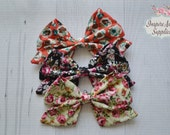 New Fall Print Sailor bows, Floral print bow, DIY hair bow, headband supply, wholesale bows, leather bows, fabric bows- for DIY no clip.