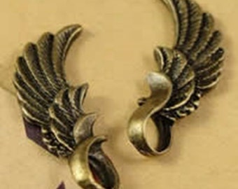 6pc 24x9mm antique bronze finish wing pendant-4802o