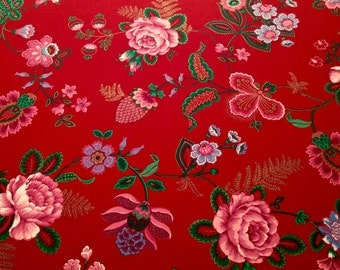 Vintage Joan Kessler Folkloric Print Cotton 3 and 1/3 yards long x 44 in wide