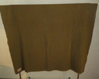 "Vintage Original Wool Olive Green U.S Army Military Barracks/Field Blanket 76"" By 62"""