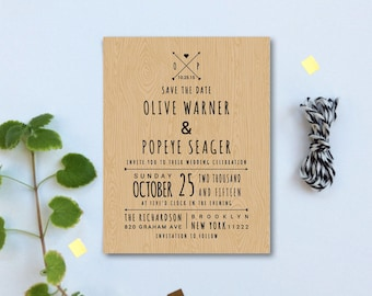 Rustic Save the Date Magnets or Card - Wood Background Custom Save the Date Cards