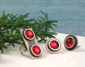 Modernist Earrings & Ring Set, Vintage Bent Larsen Red Glass Cabochon and Pewter, Clip On Earrings + Ring, Mid Century Danish Denmark, 1960s