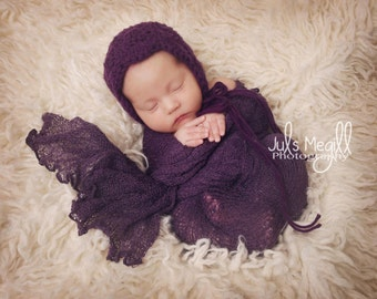 Eggplant RTS Stretchy Soft Newborn Knit Wraps 80 colors to choose from, photography prop newborn prop wrap