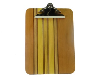 Yellow Striped Laminated Wood Clipboard SCB7294