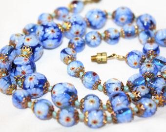 Vintage Italy Necklace, Millefiori Art Glass Bead Necklace, Blue Millefiori Bead, 1940 Jewelry