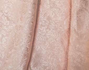 """3 Yards of 49"""" Vintage Damask Jacquard Woven Fabric. Light Peach. Floral Design. High Quality Sewing. Medium Weight. Dresses, Jackets. 3898F"""