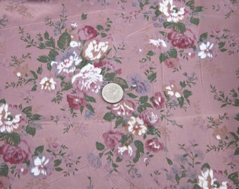"3 3/4 Yards of Vintage 59"" Crushed Satin Floral Print Fabric. Mauve Colors. Rose, White, Green, Blue, Burgundy. High Quality. 3968F"