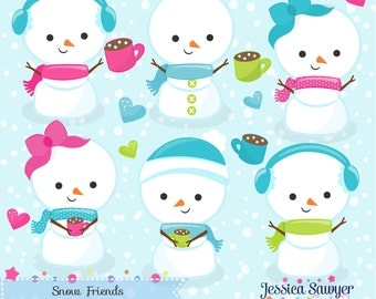 INSTANT DOWNLOAD, kawaii snowman clipart and vectors for personal and commercial use