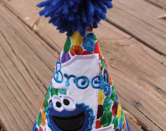 Cookie Monster Multi color Party Hat