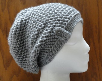Crochet Herringbone Button Slouchy Beanie Hat Heather Gray  Women Teen Cap Cloche