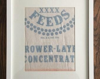 Vintage Pillsbury's Best Flour Feed Sack Fabric Framed Wall Farmhouse Kitchen Decor Sign