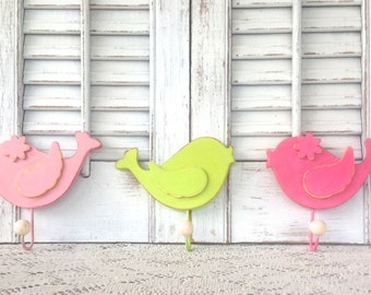 Whimsy Wooden Bird Wall Hooks - Set of 3 - Pink and Lime Hooks - Children's Room - Nursery