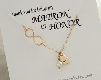 Matron of Honor Personalized Gift, Infinity Pearl Gold Necklace, Personalized Infinity necklace, Maid of Honor Gift, Bridesmaid Gift