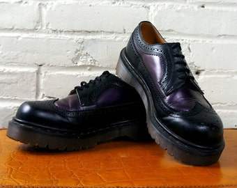 Dr Martens Wingtips 1990s Vintage Doc Martens Shoes Purple Black Brogues UK 6 Spectator Oxfords Leather Air Cushion Sole Wing Tips England