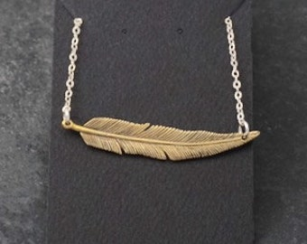 Feather Necklace, Bar Necklace- Brass with sterling chain - Avina