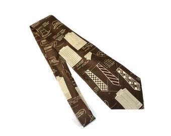 80s necktie Polo by Ralph Lauren.  Brown beige shirts neckties print.  Silk tie. Made in  USA. Boyfriend gift. Men fashion print.