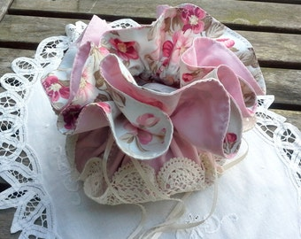 Flower Girl purse, first communion bag,Pale blue and pink floral cotton with a vintage ecru doily bottom, satin picot ribbon draw string,
