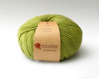 DK Yarn, green yarn, Rooster Yarn, DK wool, alpaca and merino wool, 50g ball of wool in Gooseberry colourway, green wool, knitting wool