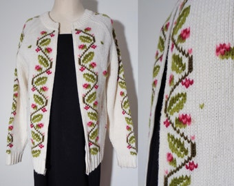 Vtg 60s SCANDINAVIAN Cardigan Sweater With Floral Design & Steel ZIPPER, Small to Medium