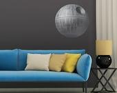 Large Death Star Print High Resolution Image on Reusable Adhesive Fabric wall art print sticker star wars darth vader