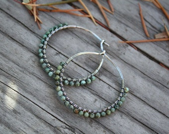 Sterling Silver Hoops,  African Turquoise, Stone Hoops, Sterling Silver, Wire Wrapped Hoops, Lightweight Earrings, Oxidized Silver