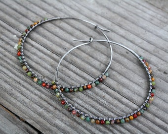 Sterling Silver Hoops, Mixed Stone Hoops, Oxidized Sterling Silver, Boho Hoops, Boho Jewelry, Lightweight Earrings, 2-1/8 Inch Hoops