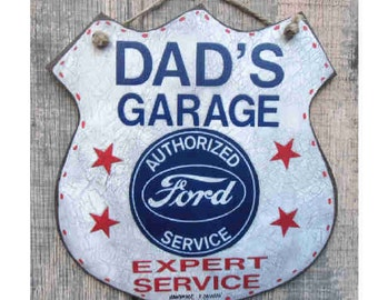 Special Package Dads Garage Ford Handmade sign 5 hs Ford musclecar prints